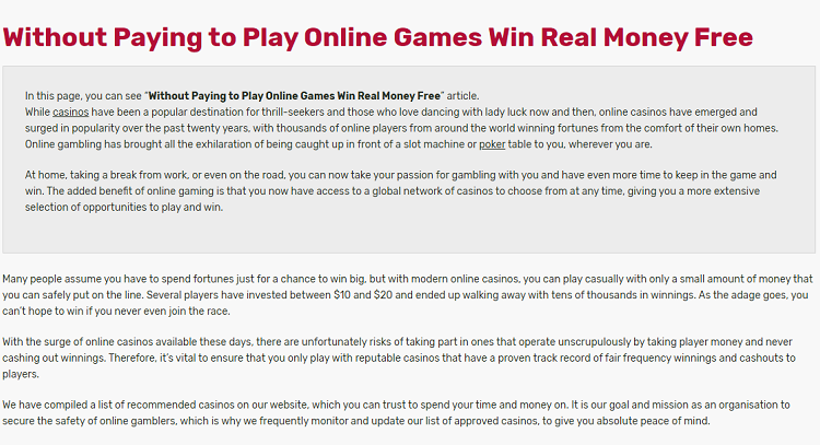 Without Pay Play Online Games Win Real Money Free Hope For Vision